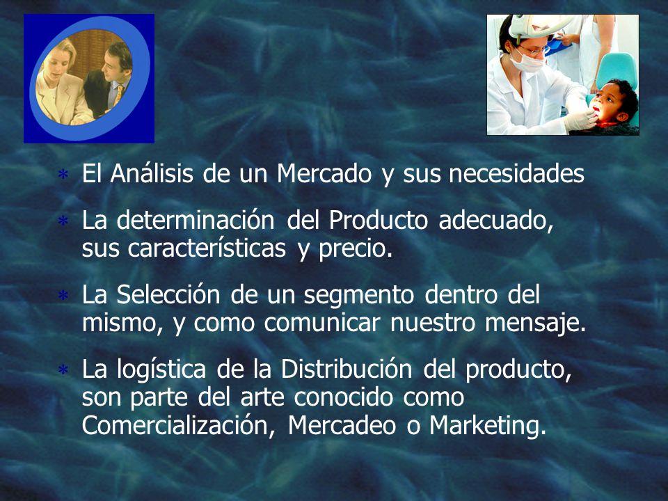 El Análisis de un Mercado y sus necesidades La determinación del Producto adecuado, sus características y precio.