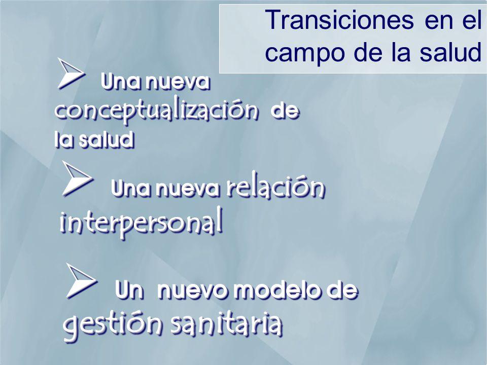 Una nueva conceptualización de la salud Una nueva conceptualización de la salud Una nueva relación interpersonal Una nueva relación interpersonal Un nuevo modelo de gestión sanitaria Un nuevo modelo de gestión sanitaria Transiciones en el campo de la salud