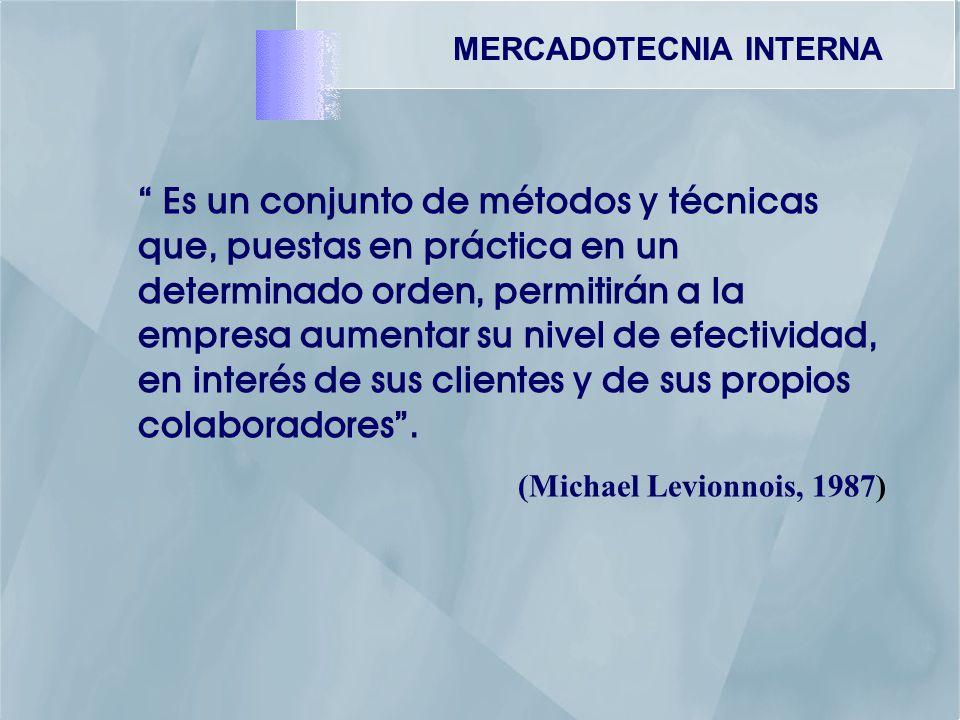 MERCADOTECNIA INTERNA Es un conjunto de métodos y técnicas que, puestas en práctica en un determinado orden, permitirán a la empresa aumentar su nivel de efectividad, en interés de sus clientes y de sus propios colaboradores.
