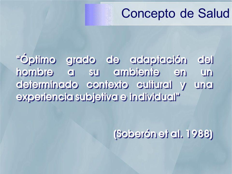 Óptimo grado de adaptación del hombre a su ambiente en un determinado contexto cultural y una experiencia subjetiva e individual (Soberón et al.
