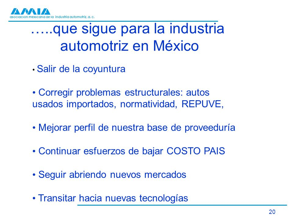 asociación mexicana de la industria automotriz, a. c. 20 …..que sigue para la industria automotriz en México Salir de la coyuntura Corregir problemas