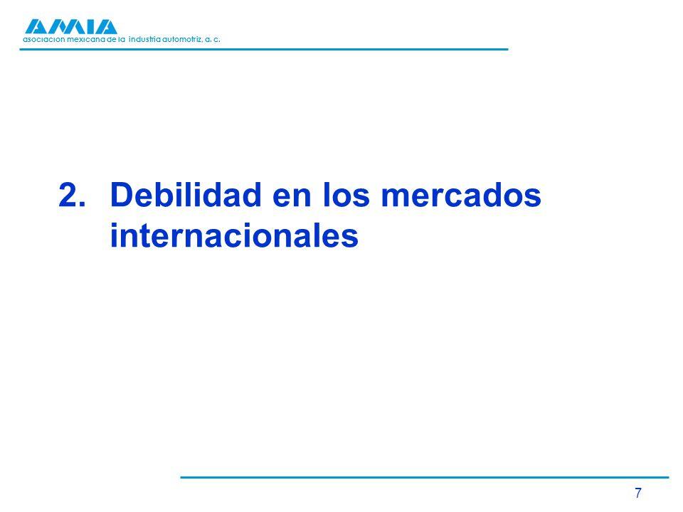 asociación mexicana de la industria automotriz, a. c. 7 2.Debilidad en los mercados internacionales