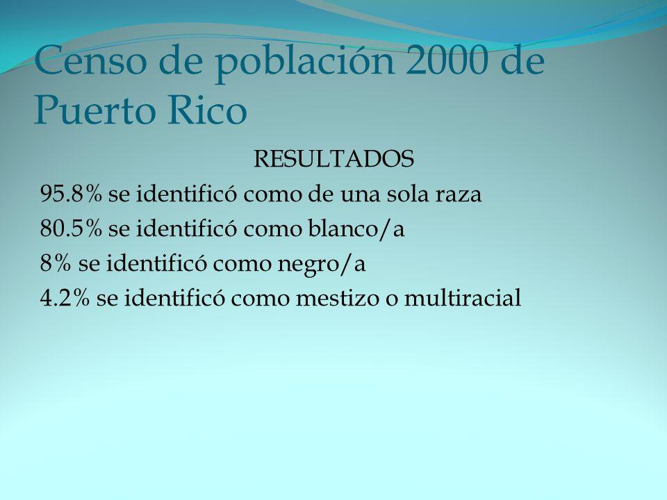 Censo de población 2000 de Puerto Rico RESULTADOS 95.8% se identificó como de una sola raza 80.5% se identificó como blanco/a 8% se identificó como negro/a 4.2% se identificó como mestizo o multiracial