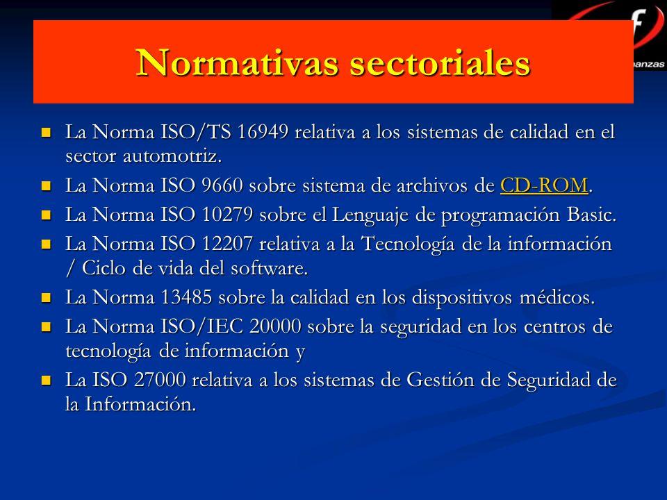 Normativas sectoriales La Norma ISO/TS 16949 relativa a los sistemas de calidad en el sector automotriz. La Norma ISO/TS 16949 relativa a los sistemas