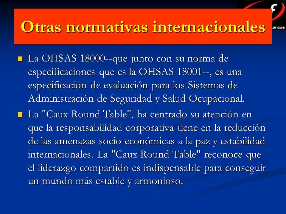 Otras normativas internacionales La OHSAS 18000--que junto con su norma de especificaciones que es la OHSAS 18001--, es una especificación de evaluaci