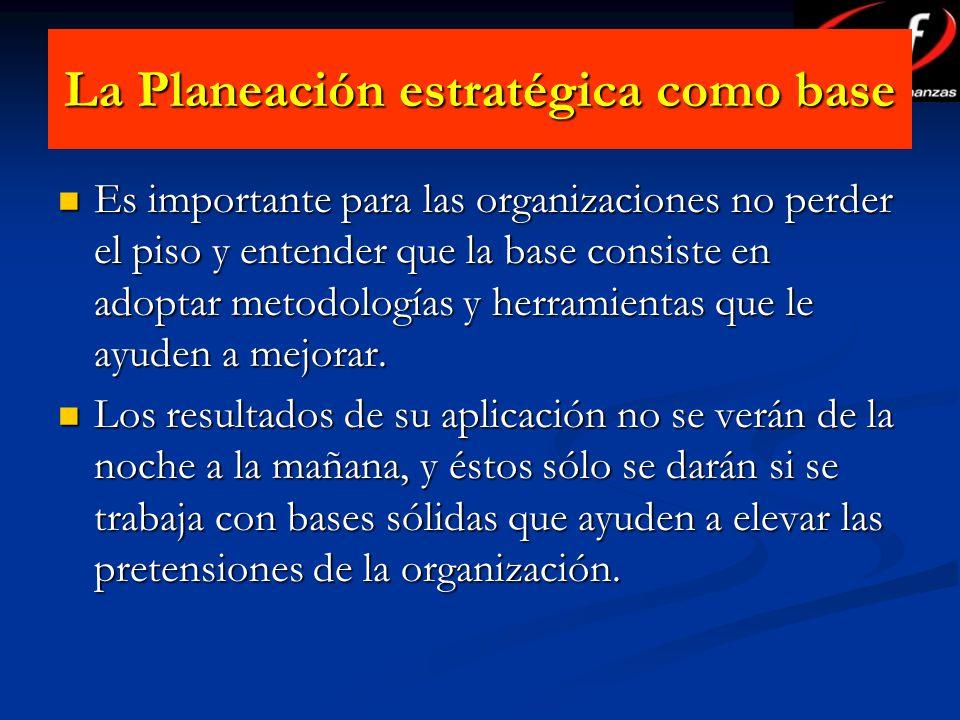 La Planeación estratégica como base Es importante para las organizaciones no perder el piso y entender que la base consiste en adoptar metodologías y