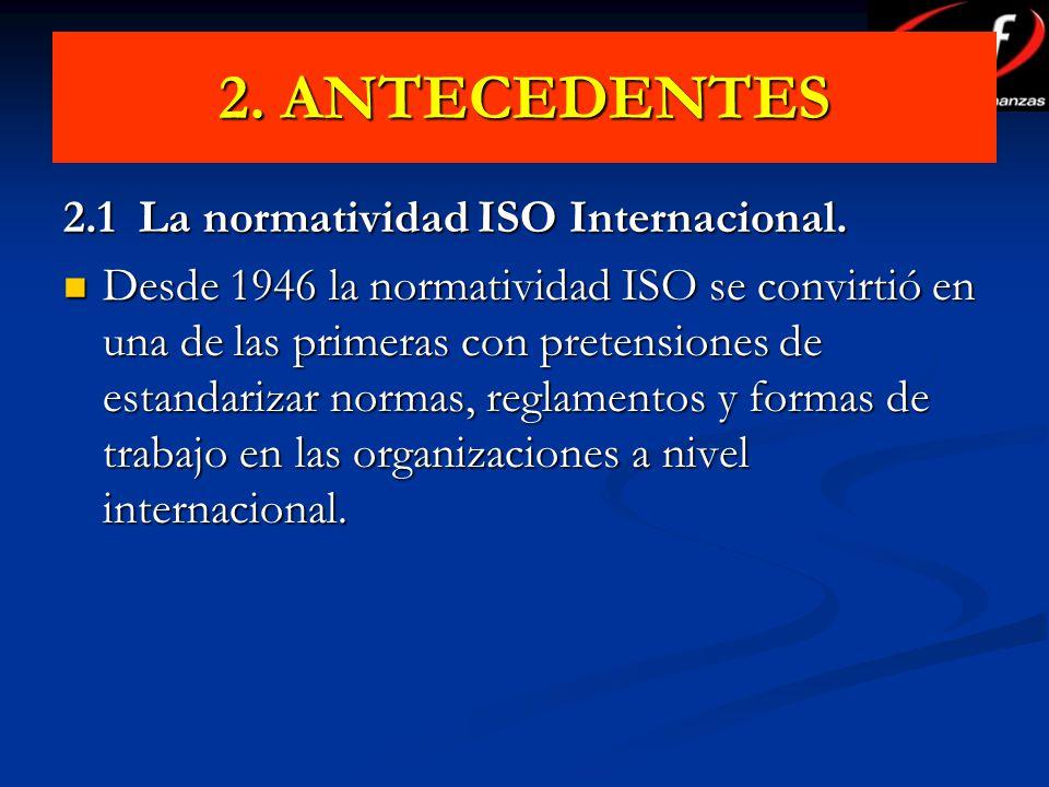 2. ANTECEDENTES 2.1 La normatividad ISO Internacional. Desde 1946 la normatividad ISO se convirtió en una de las primeras con pretensiones de estandar