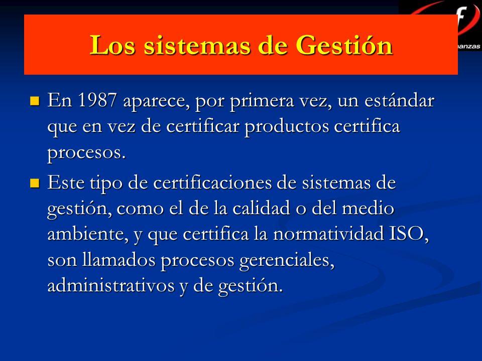Los sistemas de Gestión En 1987 aparece, por primera vez, un estándar que en vez de certificar productos certifica procesos. En 1987 aparece, por prim