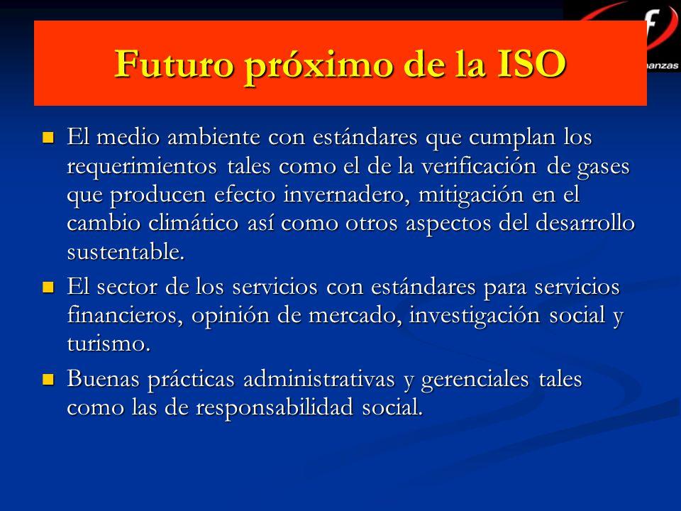 Futuro próximo de la ISO El medio ambiente con estándares que cumplan los requerimientos tales como el de la verificación de gases que producen efecto