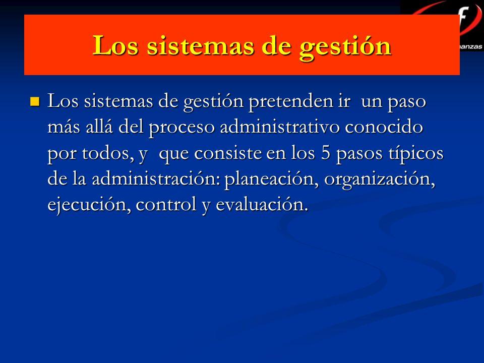 Los sistemas de gestión Los sistemas de gestión pretenden ir un paso más allá del proceso administrativo conocido por todos, y que consiste en los 5 p