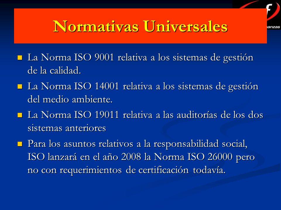Normativas Universales La Norma ISO 9001 relativa a los sistemas de gestión de la calidad. La Norma ISO 9001 relativa a los sistemas de gestión de la