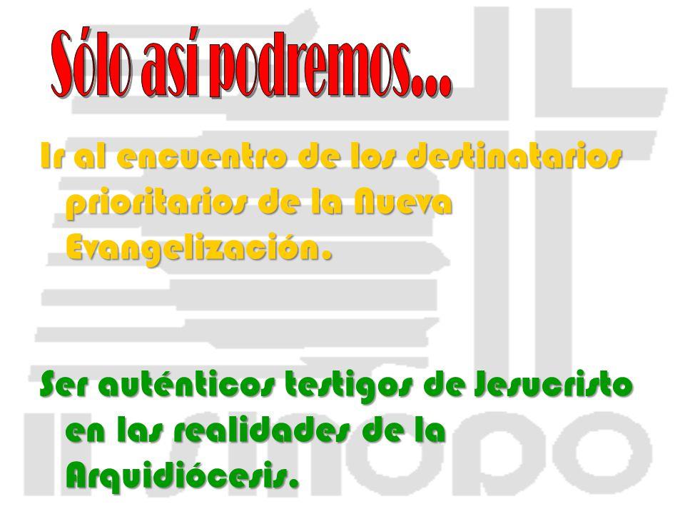 Ir al encuentro de los destinatarios prioritarios de la Nueva Evangelización. Ser auténticos testigos de Jesucristo en las realidades de la Arquidióce