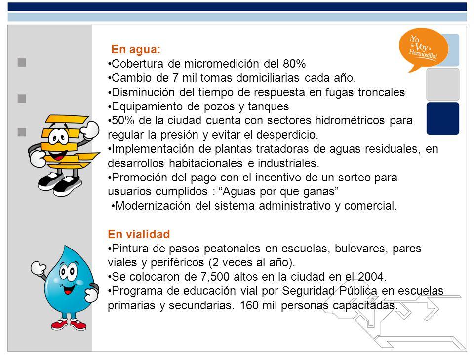 En agua: Cobertura de micromedición del 80% Cambio de 7 mil tomas domiciliarias cada año. Disminución del tiempo de respuesta en fugas troncales Equip
