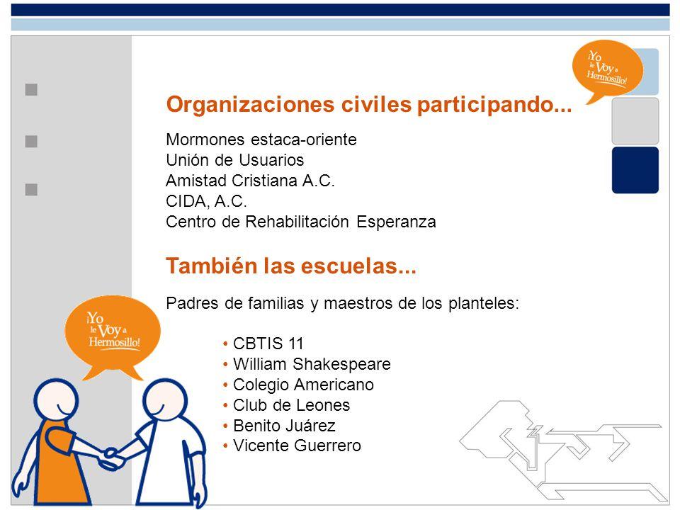 Organizaciones civiles participando... Mormones estaca-oriente Unión de Usuarios Amistad Cristiana A.C. CIDA, A.C. Centro de Rehabilitación Esperanza