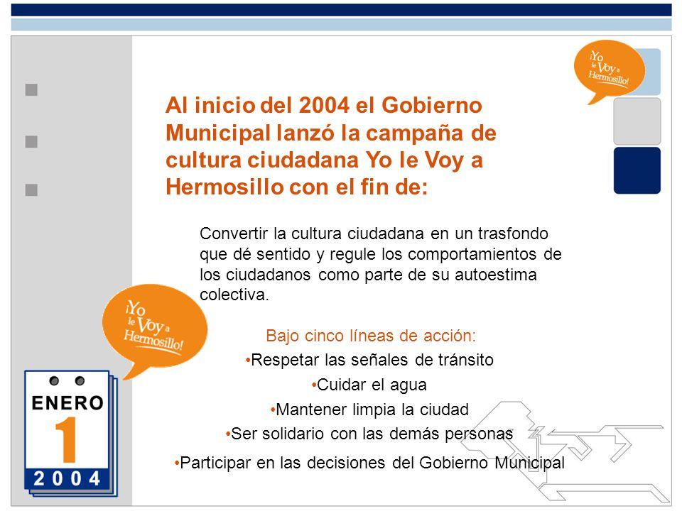 Al inicio del 2004 el Gobierno Municipal lanzó la campaña de cultura ciudadana Yo le Voy a Hermosillo con el fin de: Convertir la cultura ciudadana en