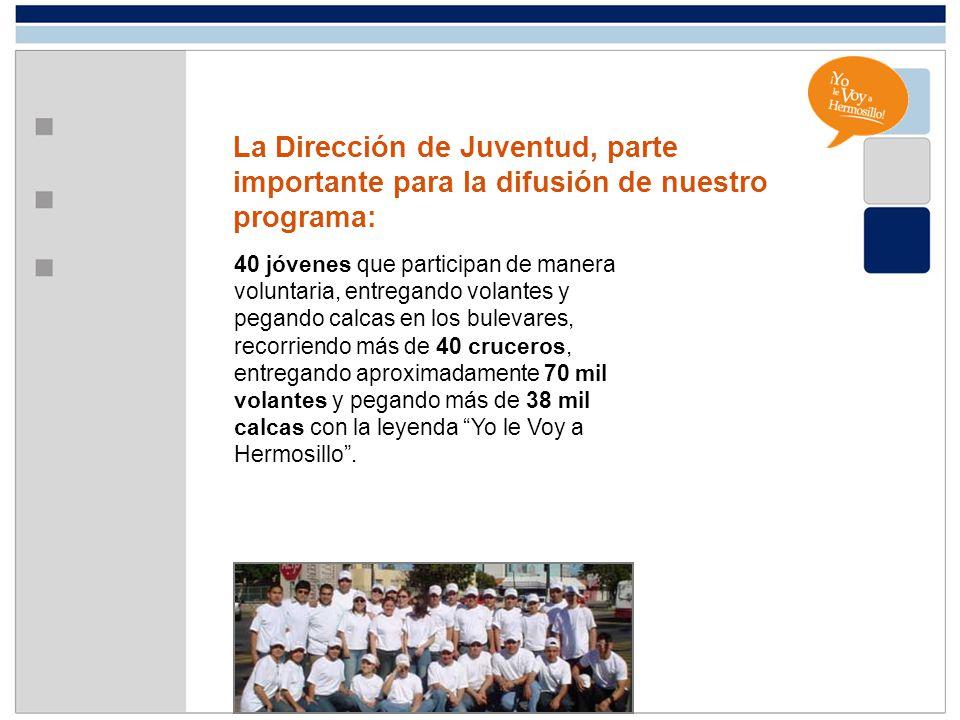 La Dirección de Juventud, parte importante para la difusión de nuestro programa: 40 jóvenes que participan de manera voluntaria, entregando volantes y