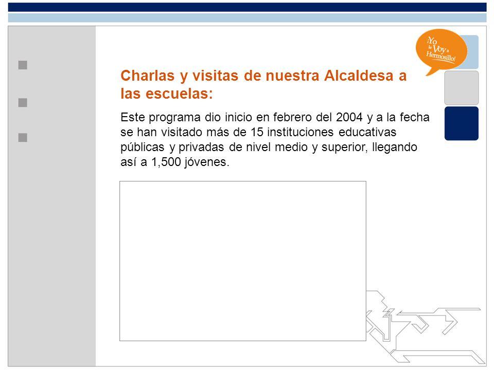 Charlas y visitas de nuestra Alcaldesa a las escuelas: Este programa dio inicio en febrero del 2004 y a la fecha se han visitado más de 15 institucion