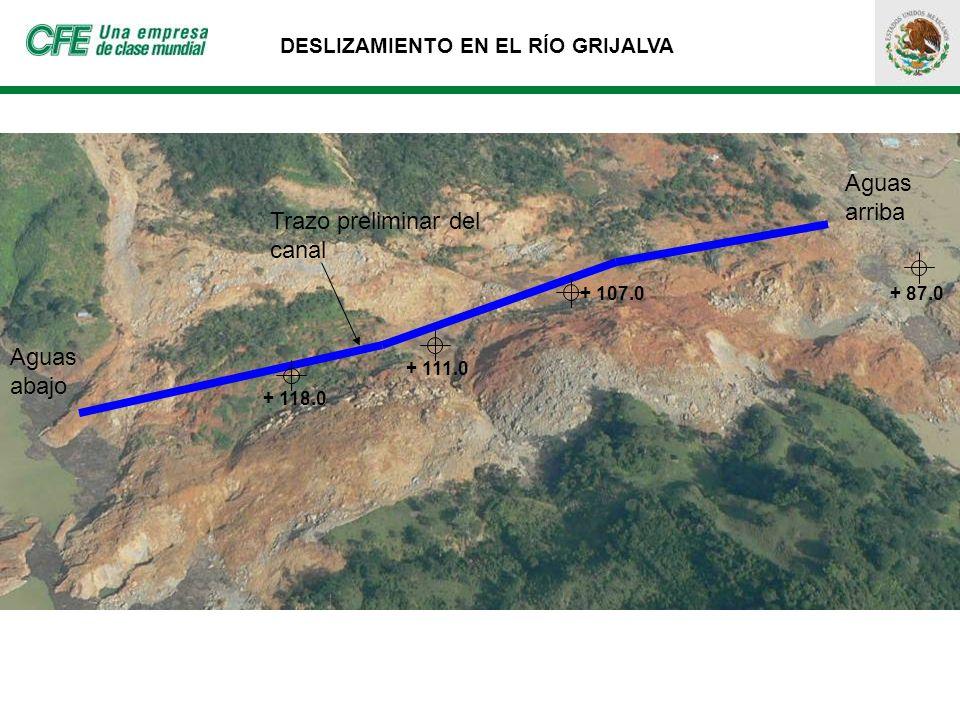 DESLIZAMIENTO EN EL RÍO GRIJALVA + 111.0 + 107.0 + 118.0 Trazo preliminar del canal Aguas arriba Aguas abajo + 87.0
