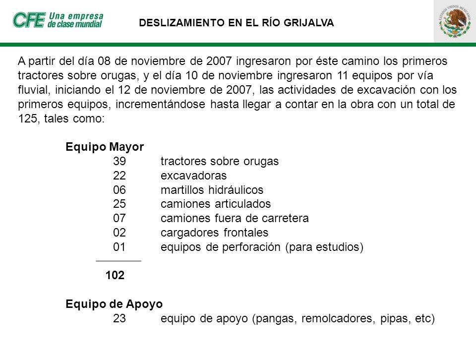 DESLIZAMIENTO EN EL RÍO GRIJALVA A partir del día 08 de noviembre de 2007 ingresaron por éste camino los primeros tractores sobre orugas, y el día 10