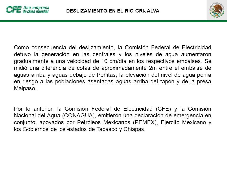 DESLIZAMIENTO EN EL RÍO GRIJALVA Como consecuencia del deslizamiento, la Comisión Federal de Electricidad detuvo la generación en las centrales y los