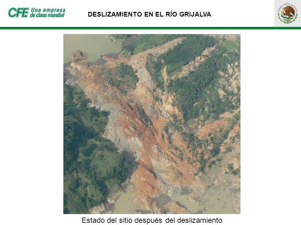 Estado del sitio después del deslizamiento