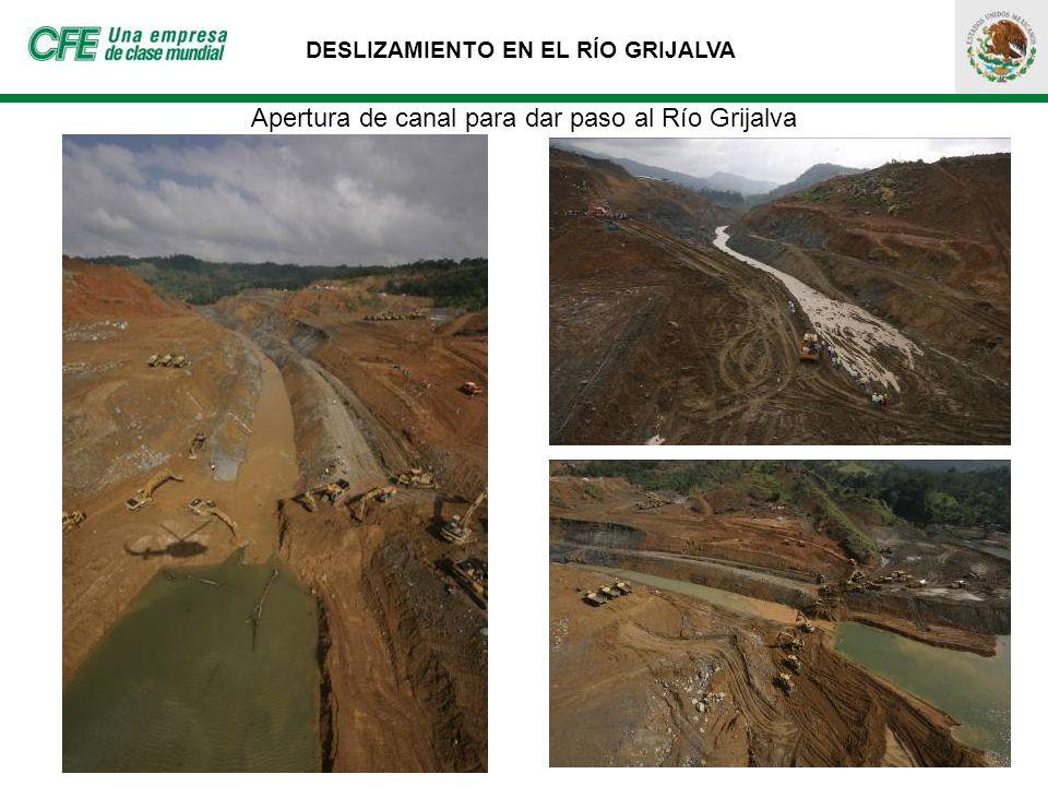 DESLIZAMIENTO EN EL RÍO GRIJALVA Apertura de canal para dar paso al Río Grijalva