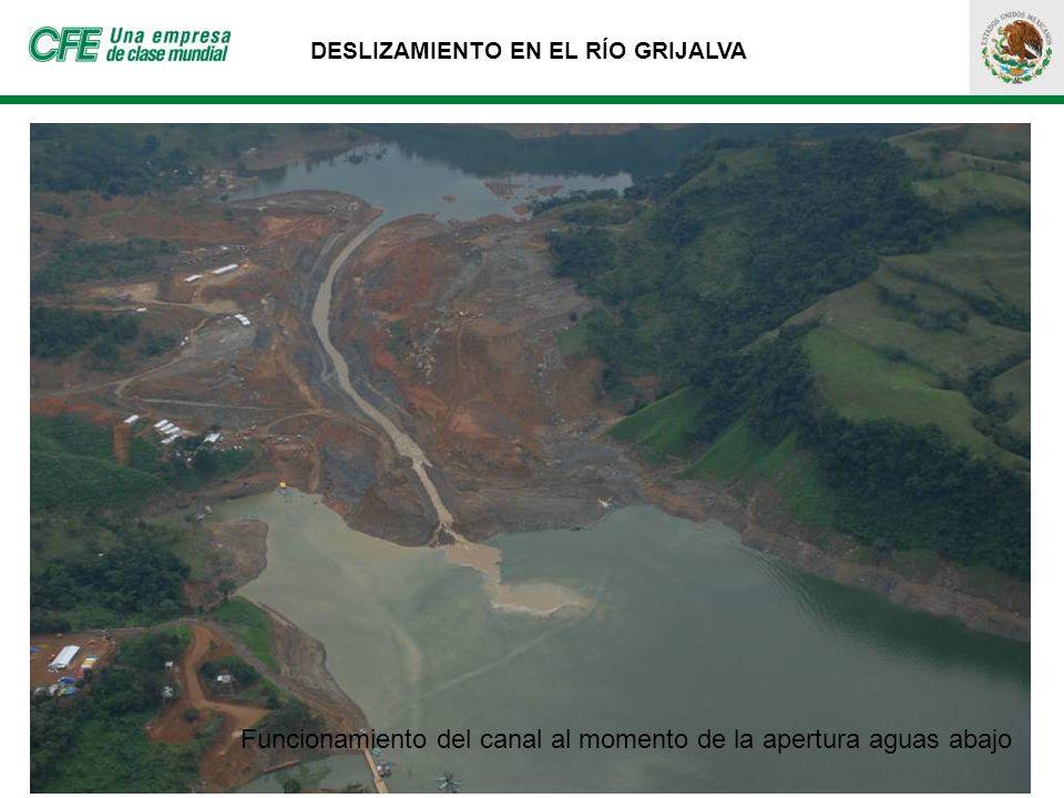DESLIZAMIENTO EN EL RÍO GRIJALVA Funcionamiento del canal al momento de la apertura aguas abajo