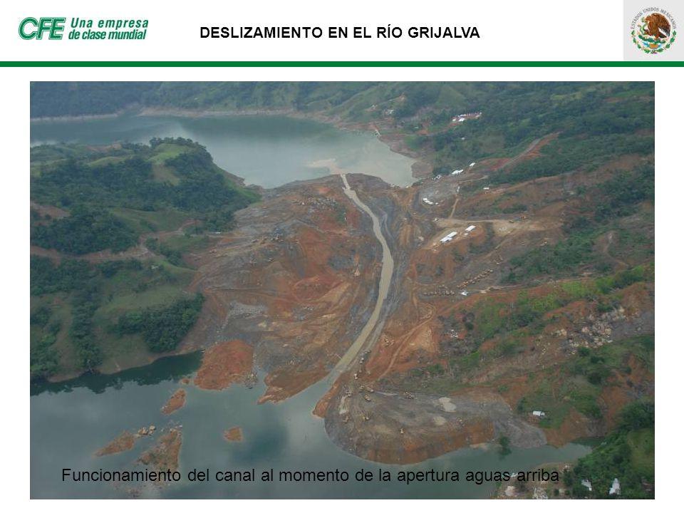 DESLIZAMIENTO EN EL RÍO GRIJALVA Funcionamiento del canal al momento de la apertura aguas arriba