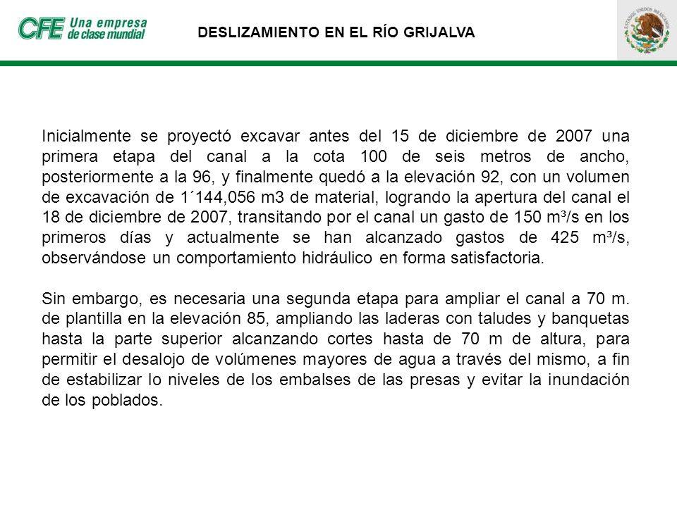 Inicialmente se proyectó excavar antes del 15 de diciembre de 2007 una primera etapa del canal a la cota 100 de seis metros de ancho, posteriormente a
