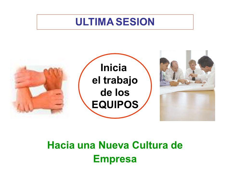 ULTIMA SESION Inicia el trabajo de los EQUIPOS Hacia una Nueva Cultura de Empresa