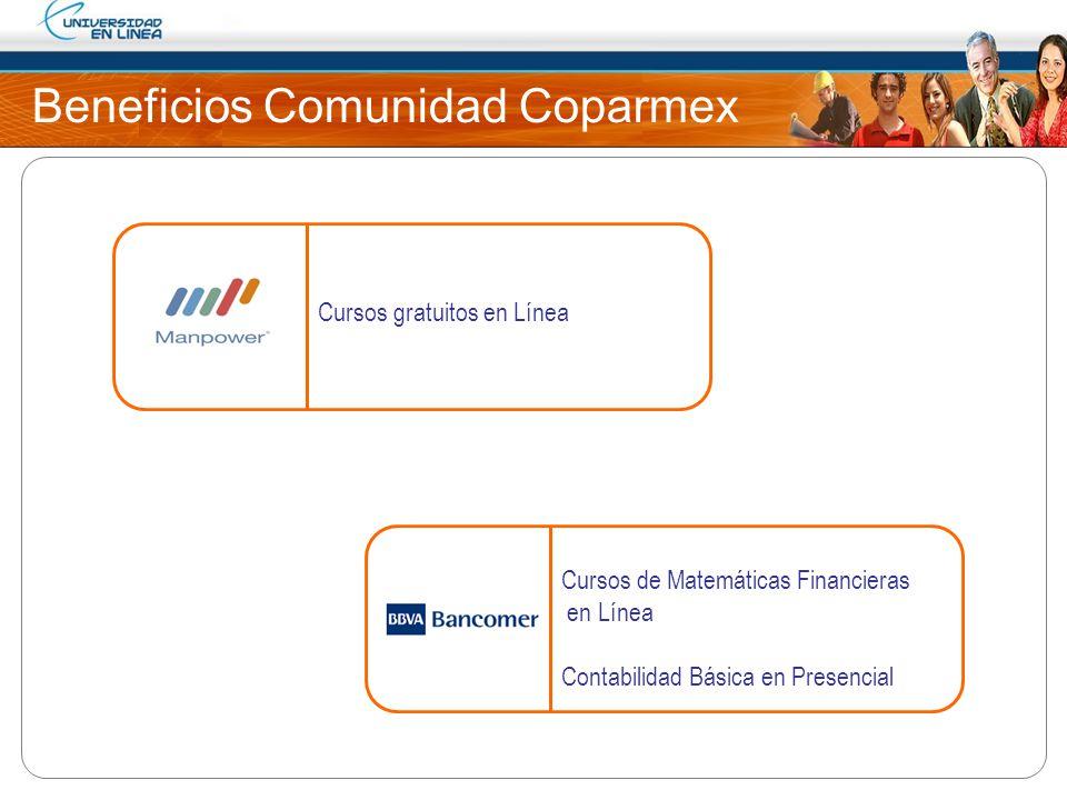 Beneficios Comunidad Coparmex Cursos gratuitos en Línea Cursos de Matemáticas Financieras en Línea Contabilidad Básica en Presencial