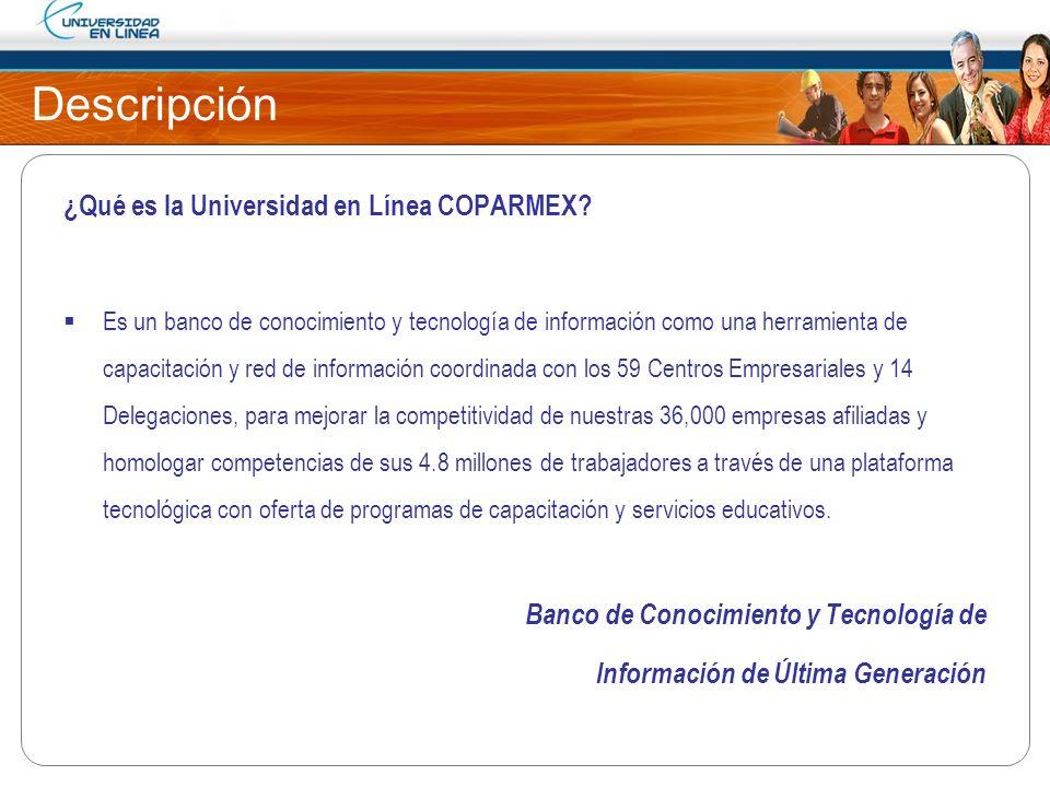 Descripción ¿Qué es la Universidad en Línea COPARMEX? Es un banco de conocimiento y tecnología de información como una herramienta de capacitación y r