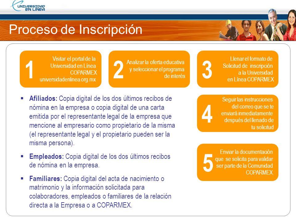 Proceso de Inscripción Visitar el portal de la Universidad en Línea COPARMEX universidadenlinea.org.mx Analizar la oferta educativa y seleccionar el p