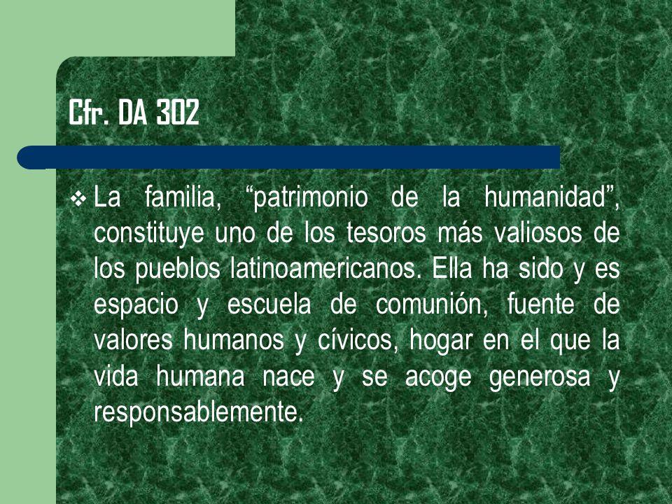 Cfr. DA 302 La familia, patrimonio de la humanidad, constituye uno de los tesoros más valiosos de los pueblos latinoamericanos. Ella ha sido y es espa
