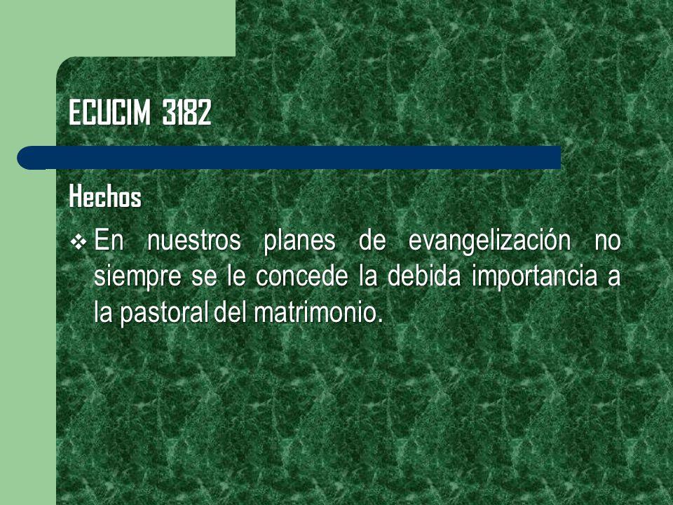 ECUCIM 3182 Hechos En nuestros planes de evangelización no siempre se le concede la debida importancia a la pastoral del matrimonio. En nuestros plane