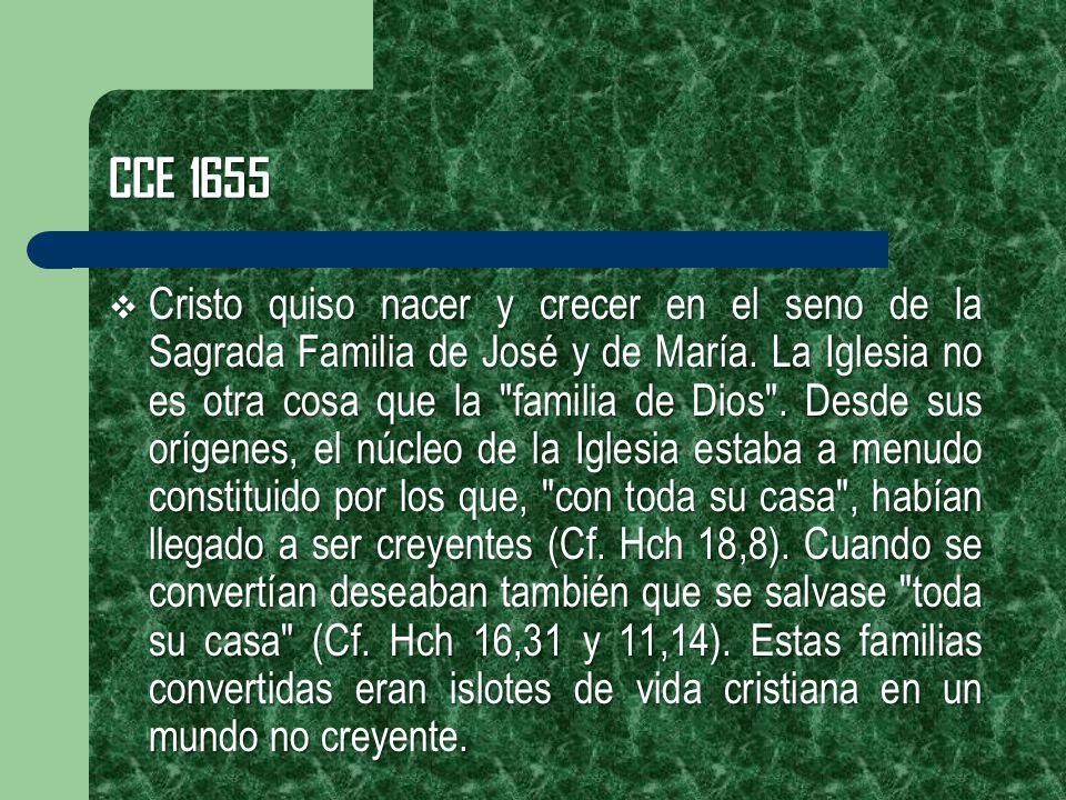 CCE 1655 Cristo quiso nacer y crecer en el seno de la Sagrada Familia de José y de María. La Iglesia no es otra cosa que la