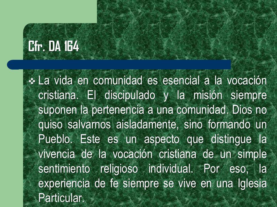 Cfr. DA 164 La vida en comunidad es esencial a la vocación cristiana. El discipulado y la misión siempre suponen la pertenencia a una comunidad. Dios