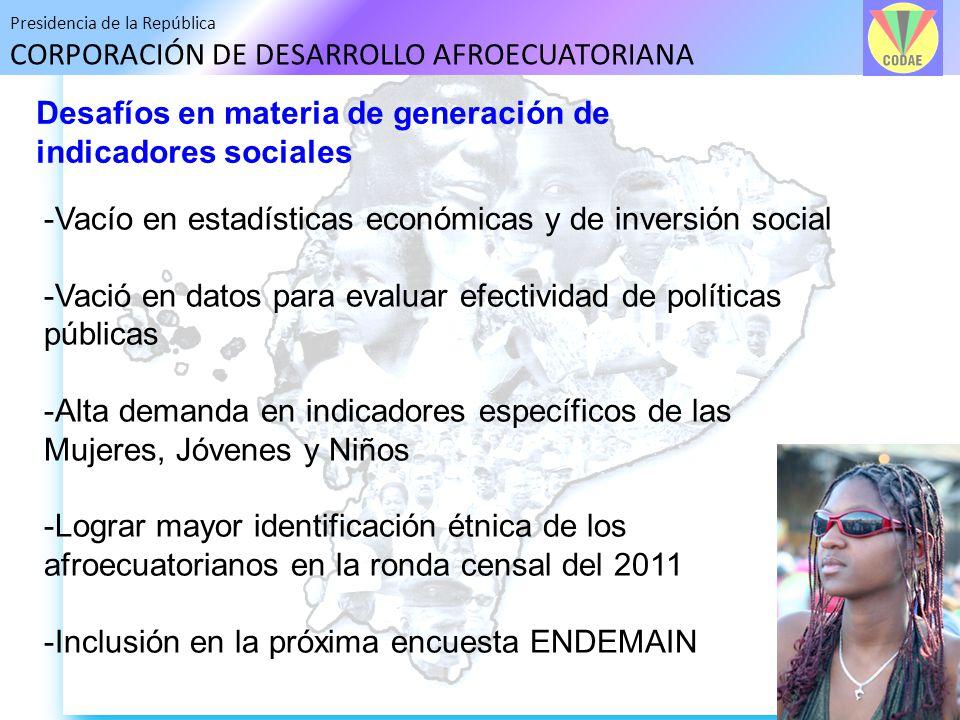 Presidencia de la República CORPORACIÓN DE DESARROLLO AFROECUATORIANA Desafíos en materia de generación de indicadores sociales -Vacío en estadísticas