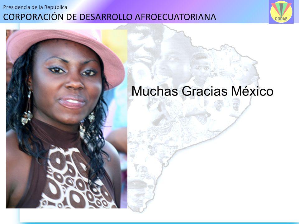 Presidencia de la República CORPORACIÓN DE DESARROLLO AFROECUATORIANA Muchas Gracias México