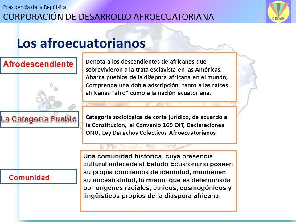 Presidencia de la República CORPORACIÓN DE DESARROLLO AFROECUATORIANA Los afroecuatorianos Afrodescendiente Comunidad Una comunidad histórica, cuya pr