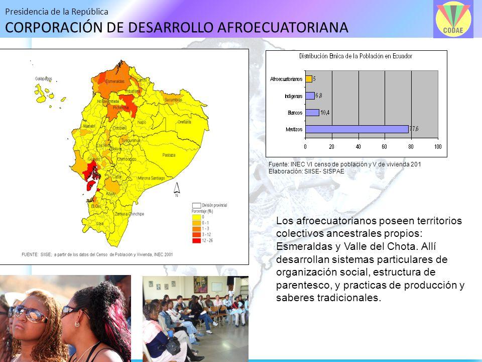 Presidencia de la República CORPORACIÓN DE DESARROLLO AFROECUATORIANA Los afroecuatorianos poseen territorios colectivos ancestrales propios: Esmerald