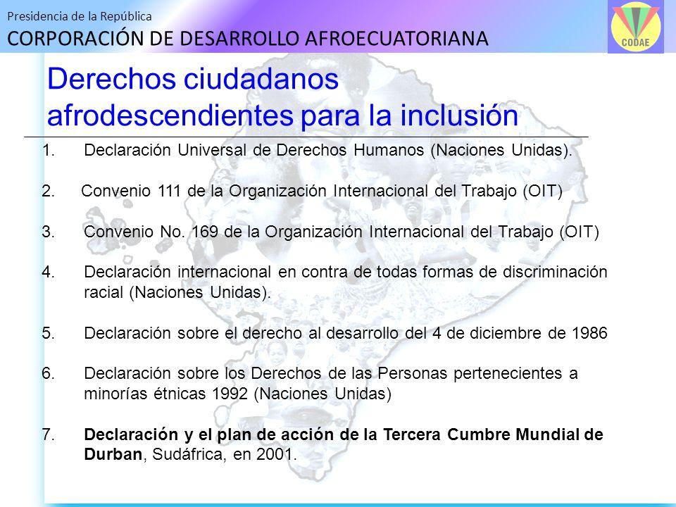 Presidencia de la República CORPORACIÓN DE DESARROLLO AFROECUATORIANA Derechos ciudadanos afrodescendientes para la inclusión 1. Declaración Universal