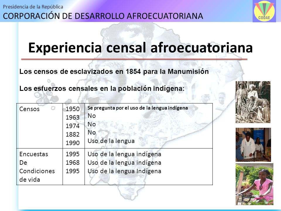 Presidencia de la República CORPORACIÓN DE DESARROLLO AFROECUATORIANA Experiencia censal afroecuatoriana Los censos de esclavizados en 1854 para la Ma
