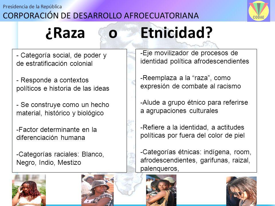 Presidencia de la República CORPORACIÓN DE DESARROLLO AFROECUATORIANA ¿Raza o Etnicidad? - Categoría social, de poder y de estratificación colonial -