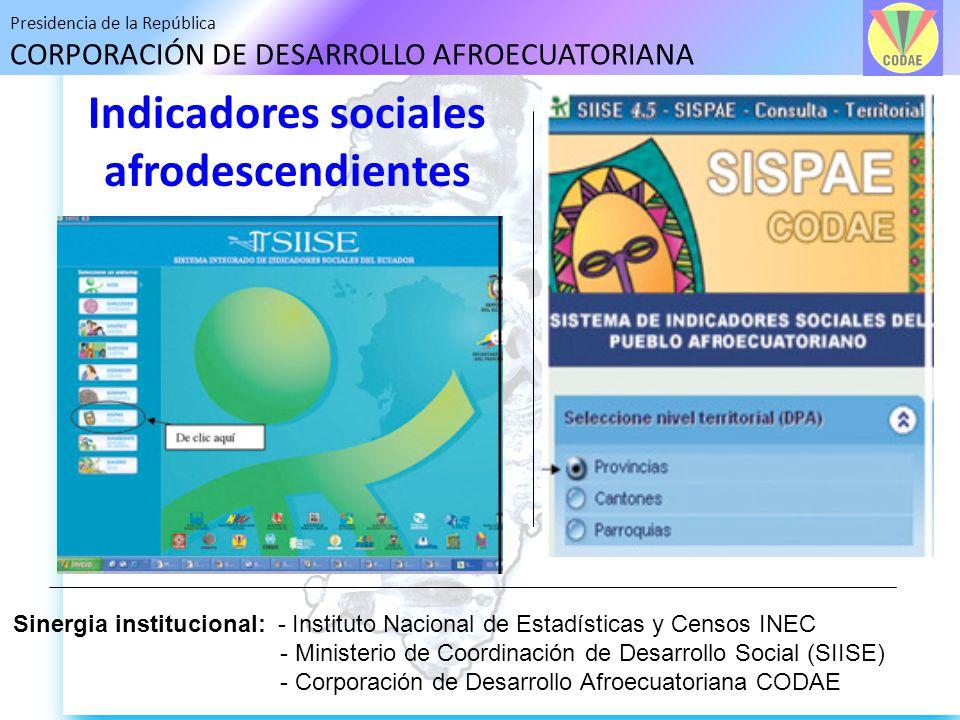 Presidencia de la República CORPORACIÓN DE DESARROLLO AFROECUATORIANA Indicadores sociales afrodescendientes Sinergia institucional: - Instituto Nacio