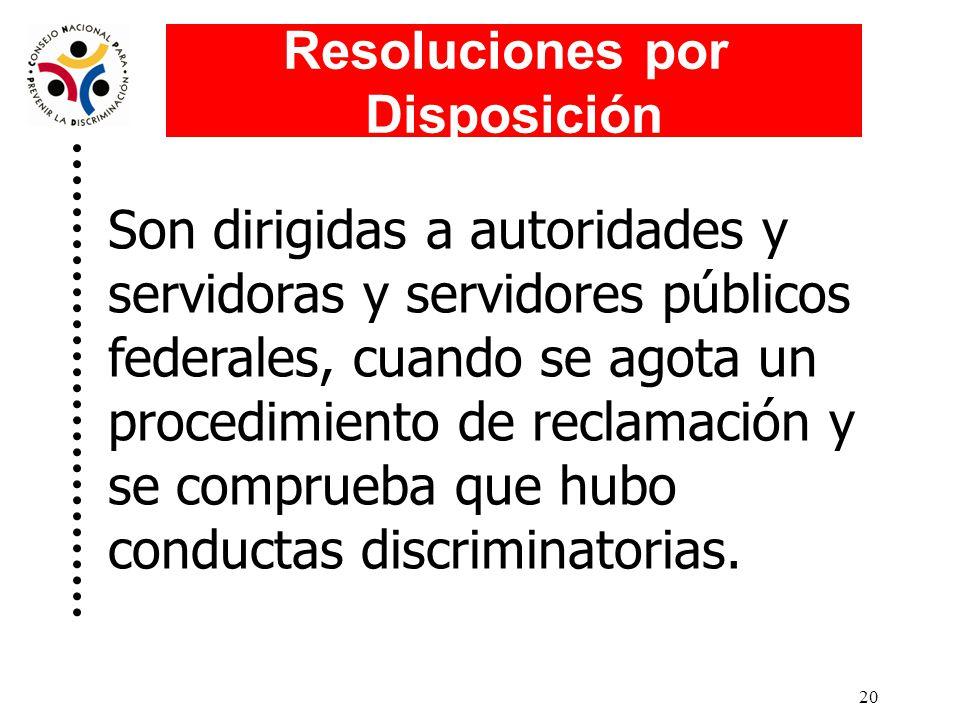 19 Las Resoluciones por Disposición emitidas por el Consejo