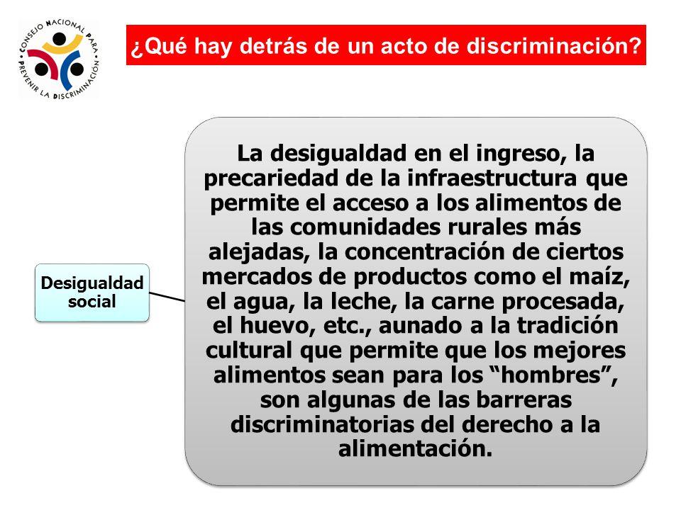Factores legales e institucionales Programas y políticas discriminatorias Leyes que no consideran igualdad de trato para todas y todos por tanto discriminan ¿Qué hay detrás de un acto de discriminación?