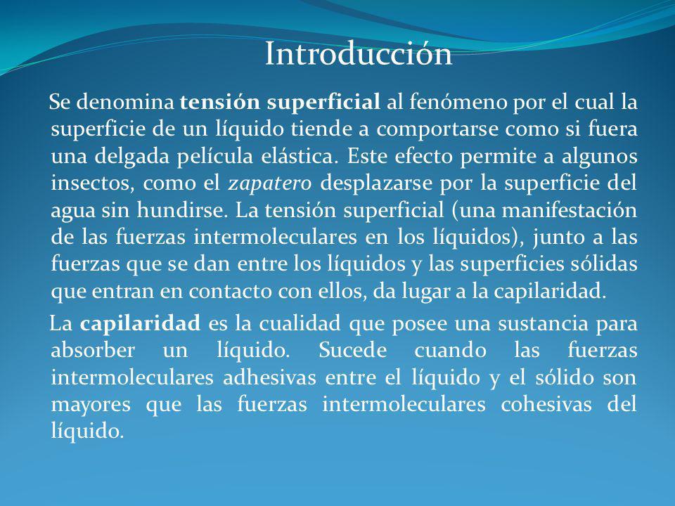 Introducción Se denomina tensión superficial al fenómeno por el cual la superficie de un líquido tiende a comportarse como si fuera una delgada pelícu