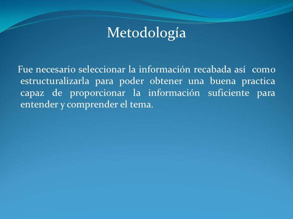 Metodología Fue necesario seleccionar la información recabada así como estructuralizarla para poder obtener una buena practica capaz de proporcionar l
