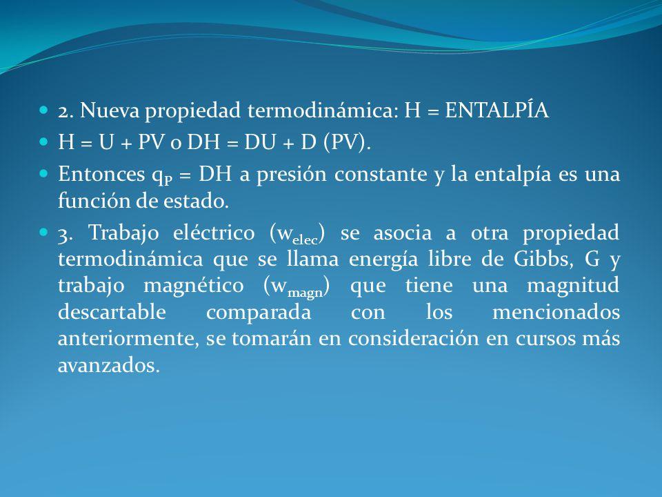 2. Nueva propiedad termodinámica: H = ENTALPÍA H = U + PV o DH = DU + D (PV). Entonces q P = DH a presión constante y la entalpía es una función de es